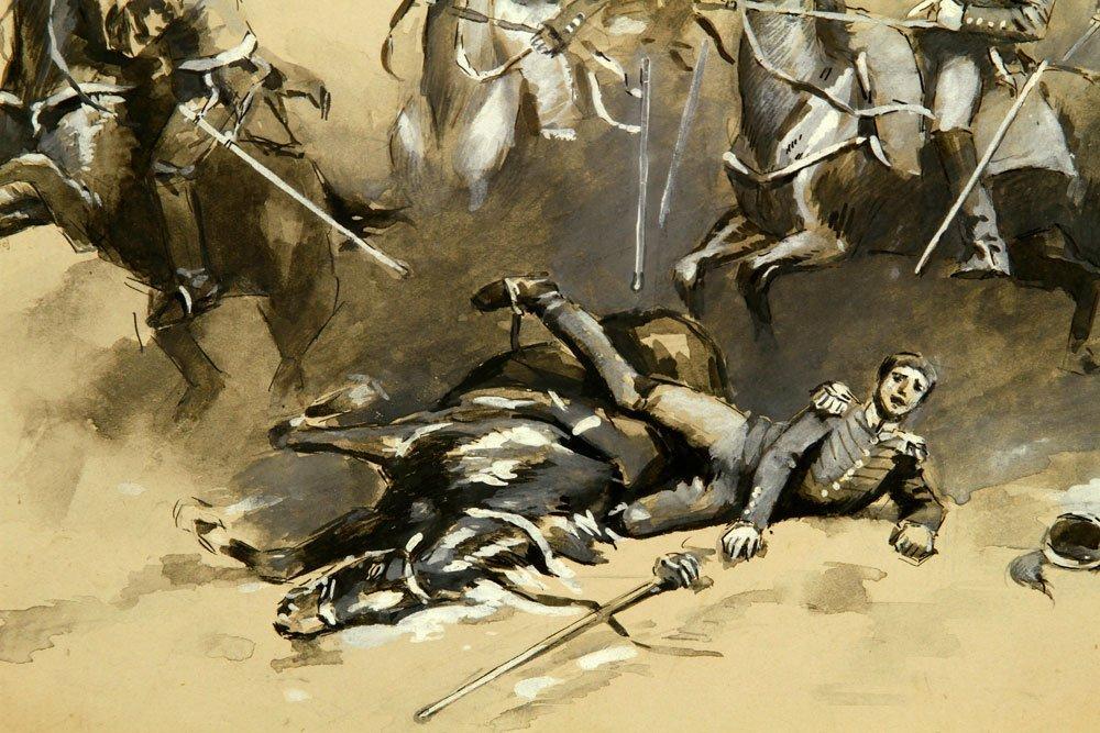 Attr. Gerbino, Battle Scene, Watercolor - 3