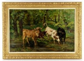 Dupre, Cows in Meadow, Oil on Canvas