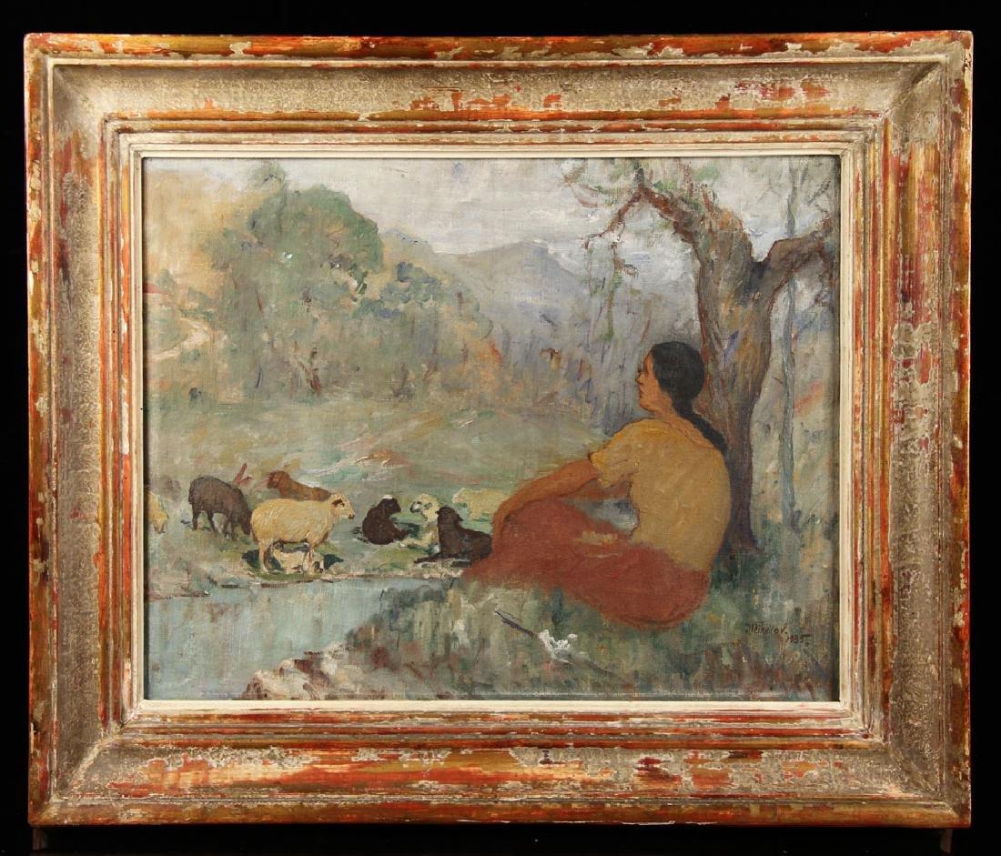 """Nikolov, """"The Shepherdess,"""" Oil on Canvas"""