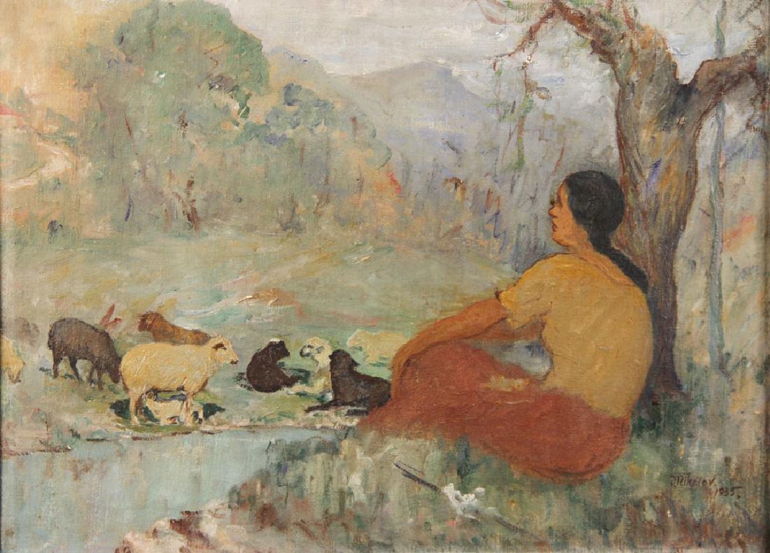 """Nikolov, """"The Shepherdess,"""" Oil on Canvas - 2"""