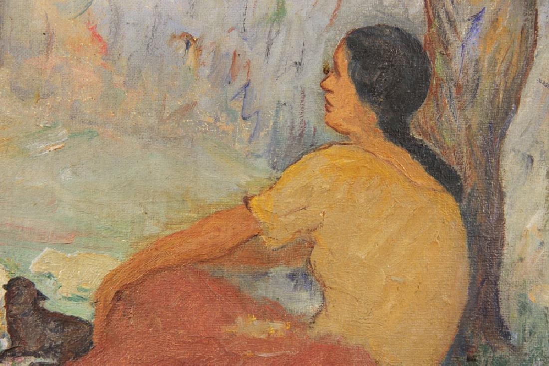 """Nikolov, """"The Shepherdess,"""" Oil on Canvas - 3"""