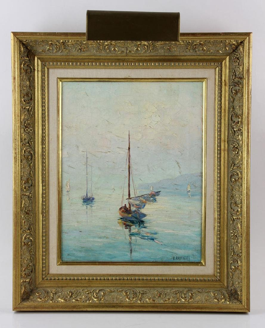 Andreell, Sailboats at Sea, Oil on Canvas