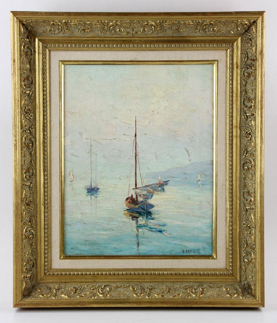 Andreell, Sailboats at Sea, Oil on Canvas - 2