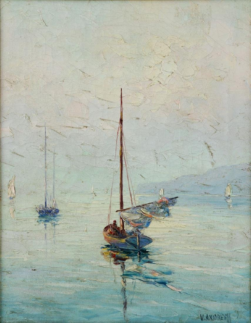 Andreell, Sailboats at Sea, Oil on Canvas - 3