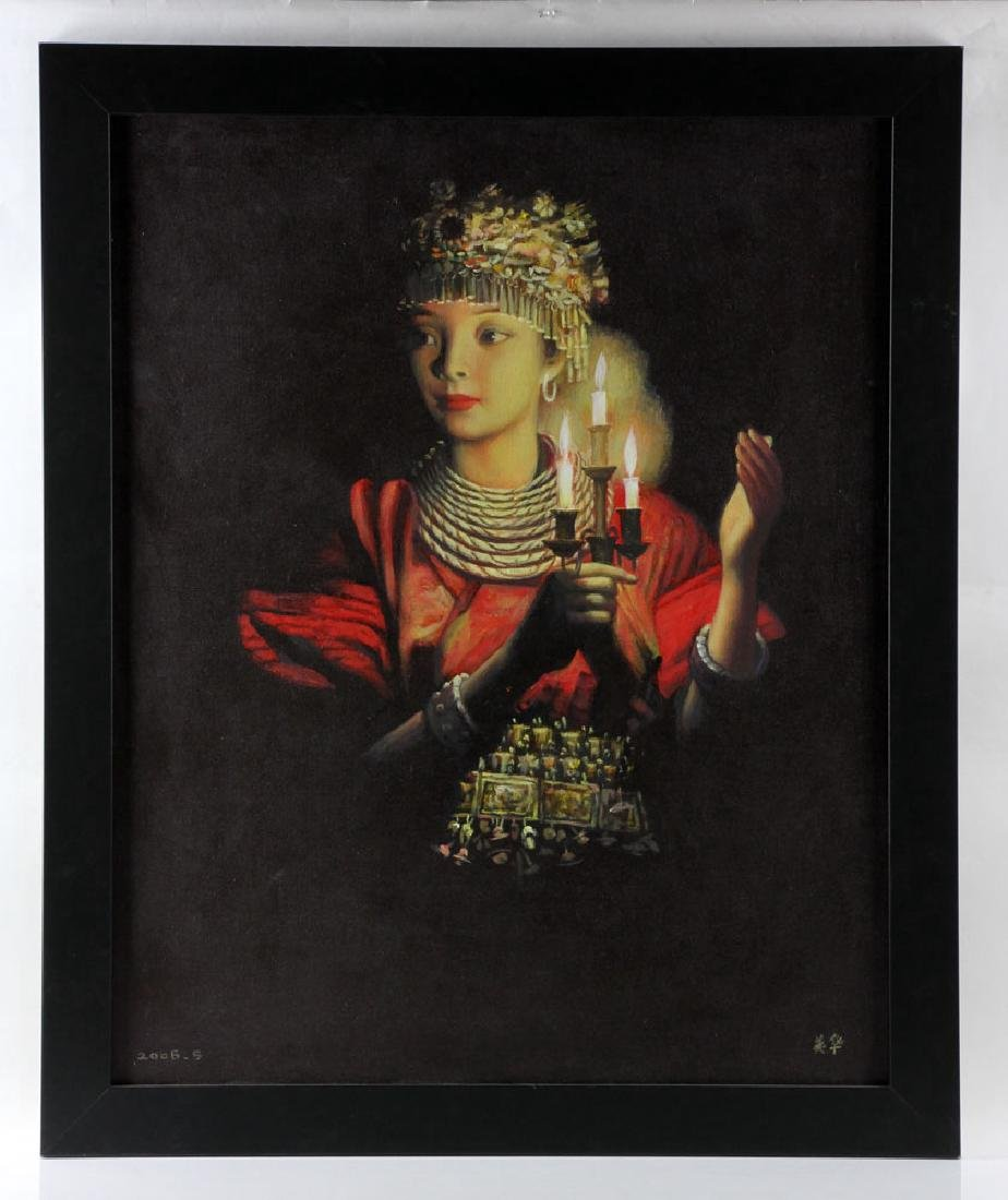 "Wang Hong (Meihua), ""Candlelight,"" Oil on Canvas"