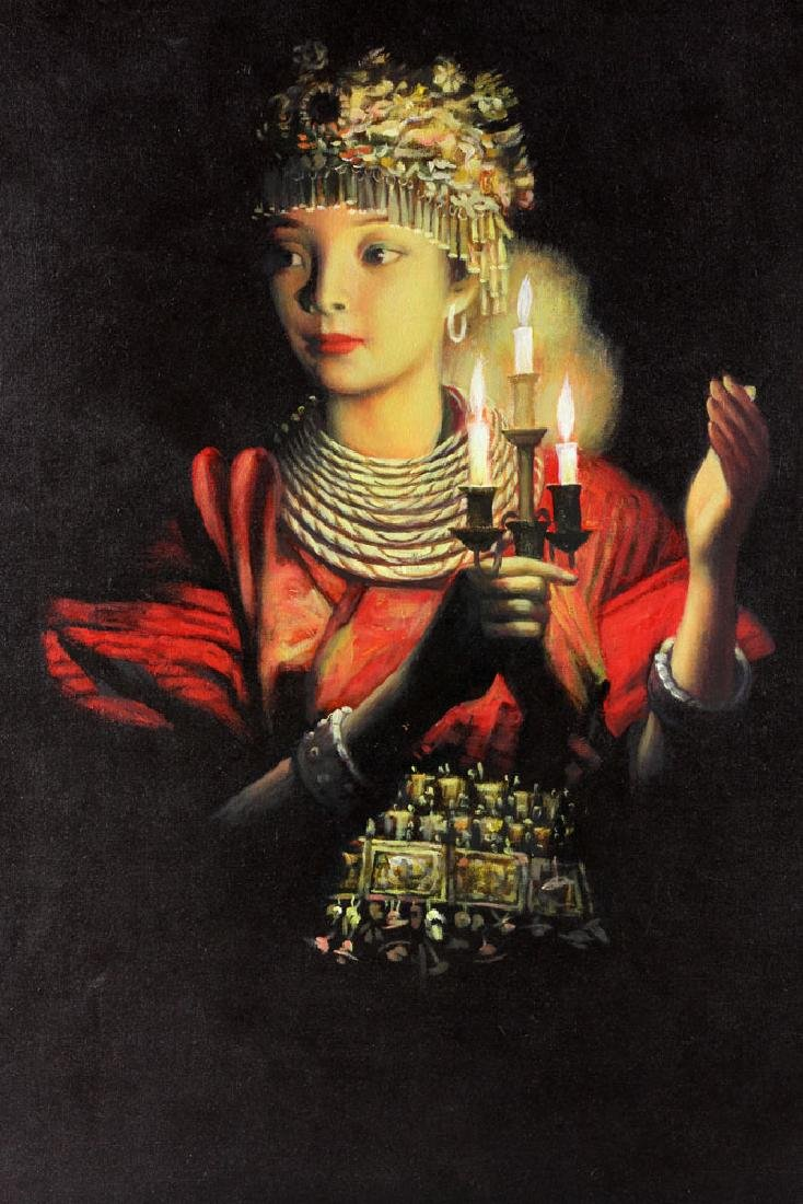 "Wang Hong (Meihua), ""Candlelight,"" Oil on Canvas - 5"