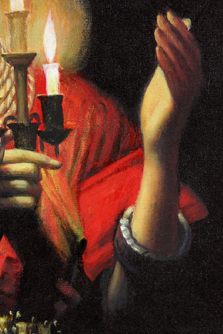 "Wang Hong (Meihua), ""Candlelight,"" Oil on Canvas - 7"