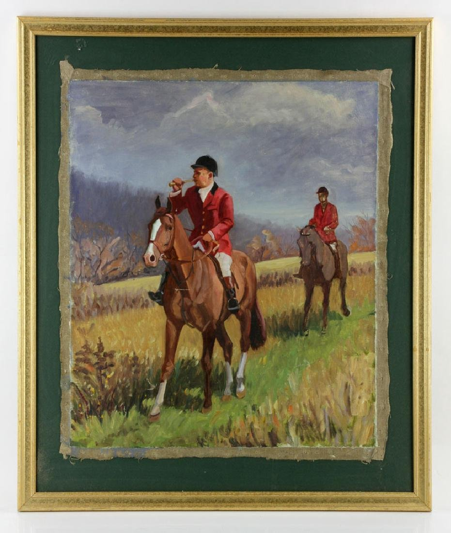 19th C. Fox Hunt Scene, Oil on Canvas