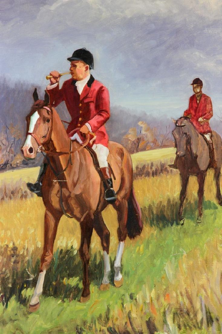 19th C. Fox Hunt Scene, Oil on Canvas - 3