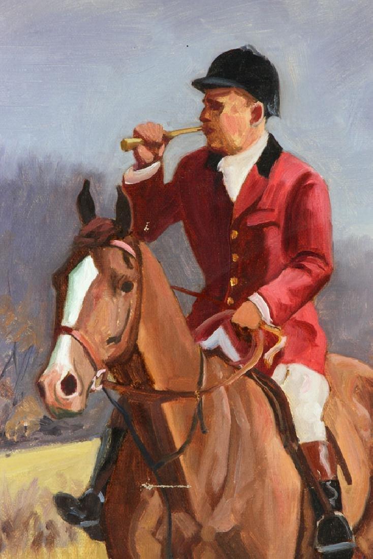 19th C. Fox Hunt Scene, Oil on Canvas - 4