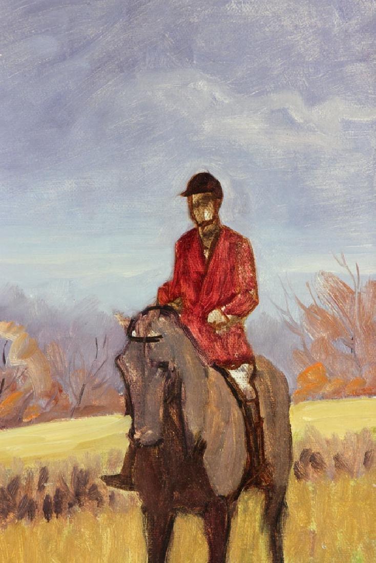 19th C. Fox Hunt Scene, Oil on Canvas - 5