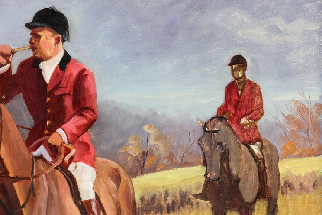 19th C. Fox Hunt Scene, Oil on Canvas - 6