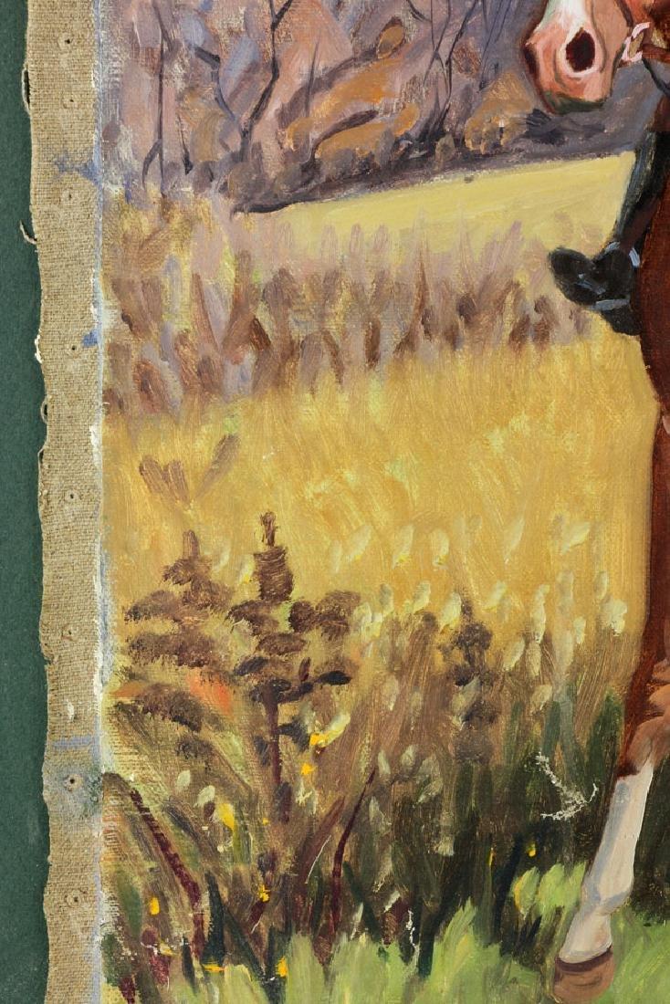 19th C. Fox Hunt Scene, Oil on Canvas - 8