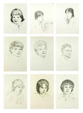 Wiser, 9 Portraits, Charcoal and Pencil