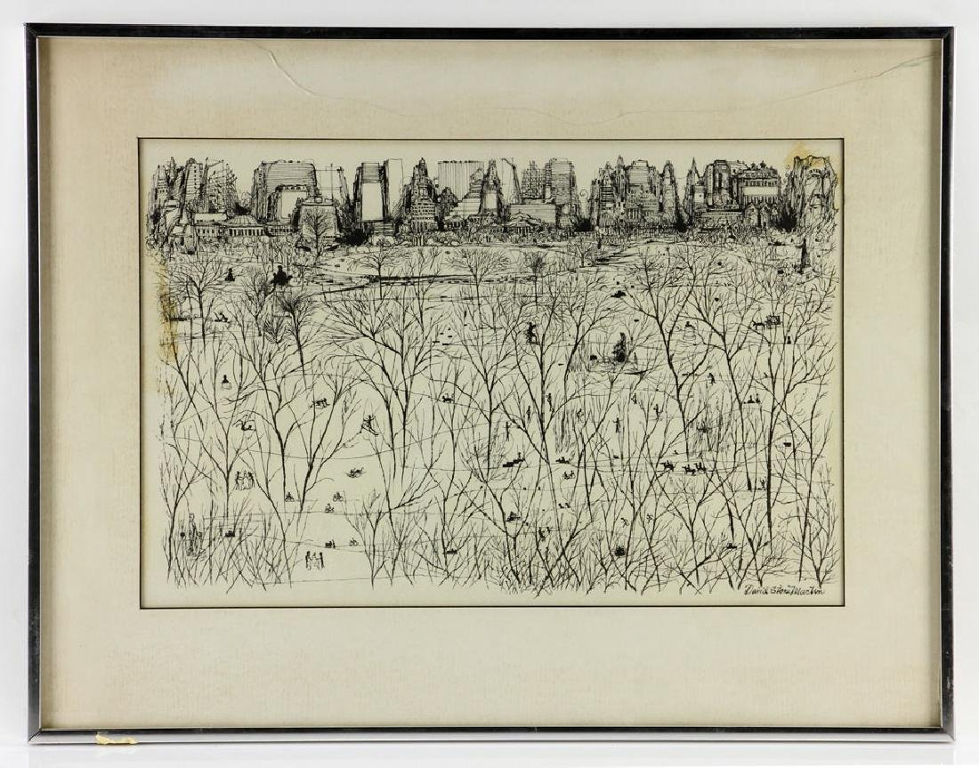 "Martin, ""Park Scene in Winter,"" Ink on Paper"