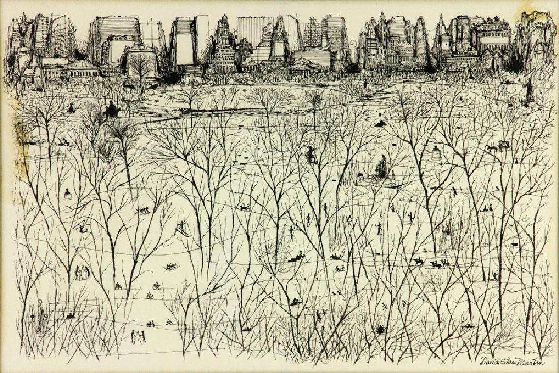 "Martin, ""Park Scene in Winter,"" Ink on Paper - 3"