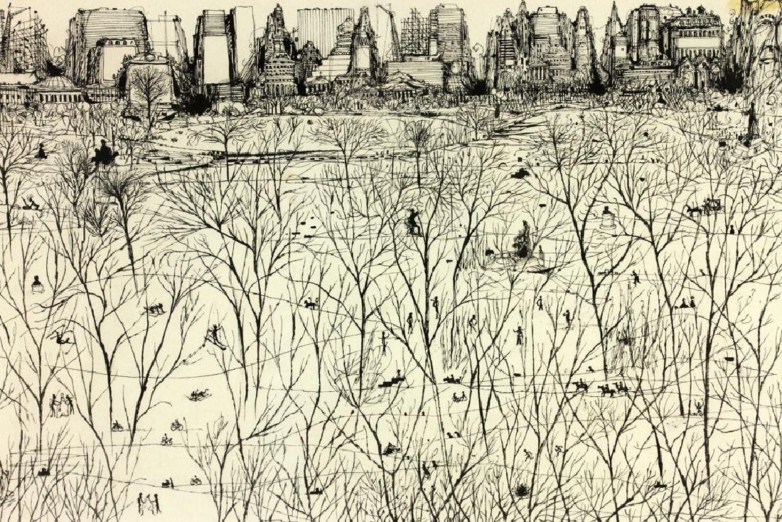 "Martin, ""Park Scene in Winter,"" Ink on Paper - 4"