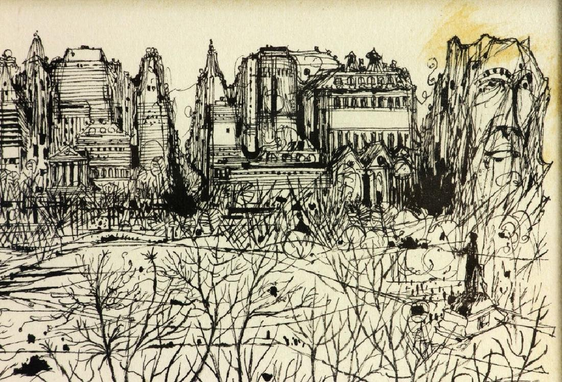 "Martin, ""Park Scene in Winter,"" Ink on Paper - 5"