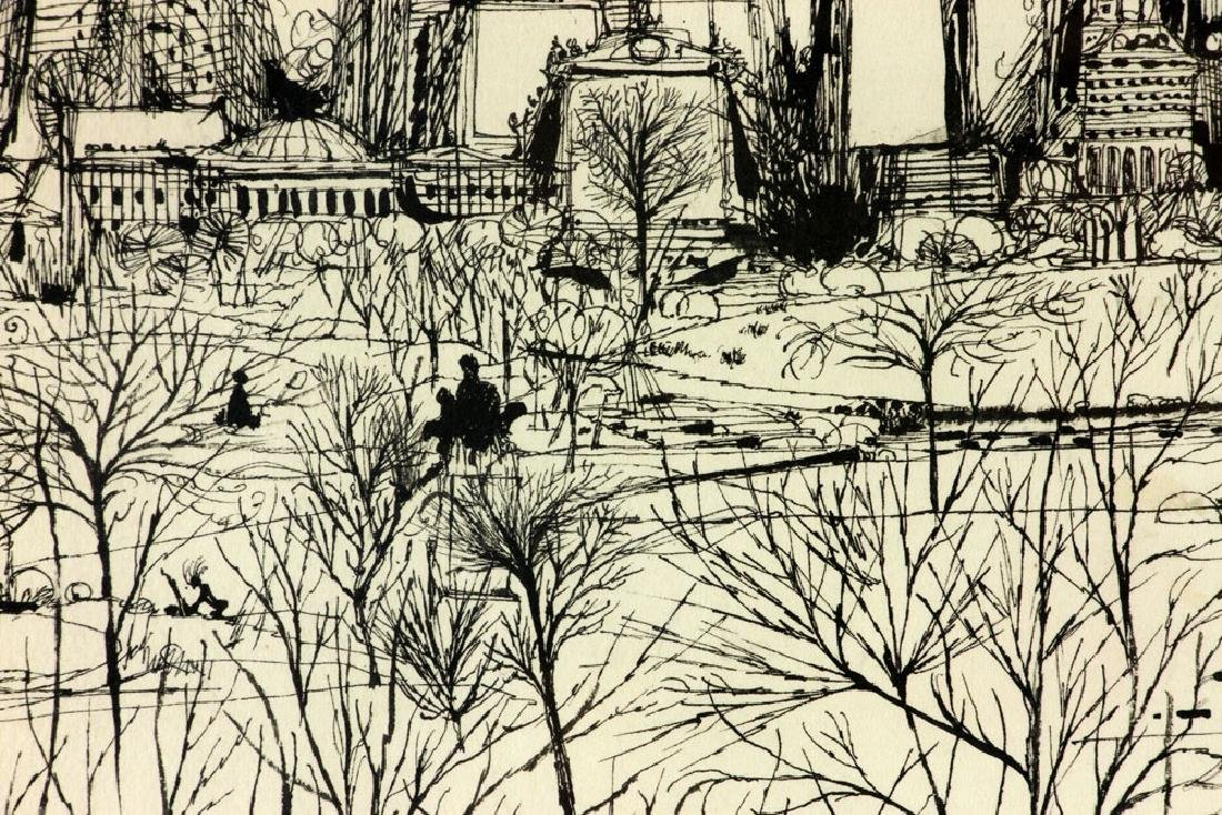 "Martin, ""Park Scene in Winter,"" Ink on Paper - 6"