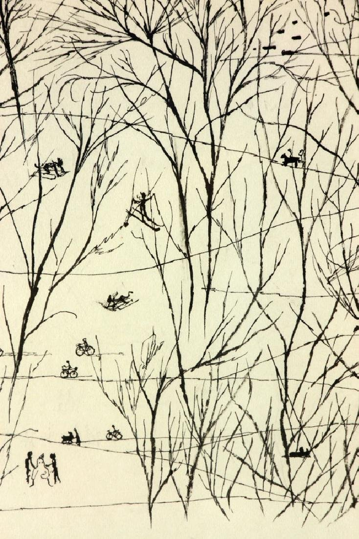 "Martin, ""Park Scene in Winter,"" Ink on Paper - 7"
