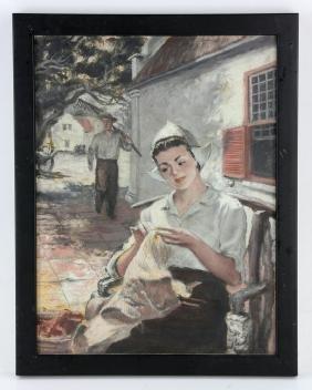Doares, Woman with Bonnet, Oil on Board