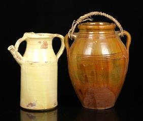 18th to 19th C. Redware Pottery Jug and Pitcher
