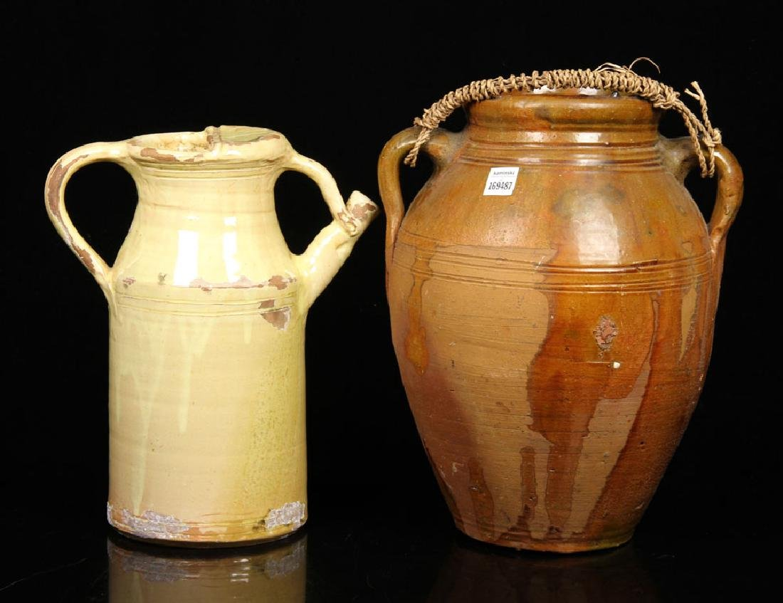18th to 19th C. Redware Pottery Jug and Pitcher - 2