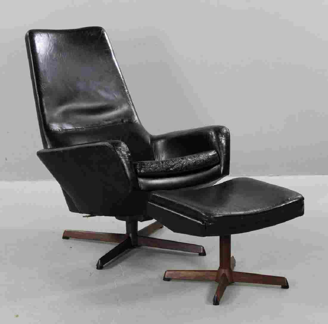 Ib Kofod Larsen Leather Lounge Chair and Ottoman