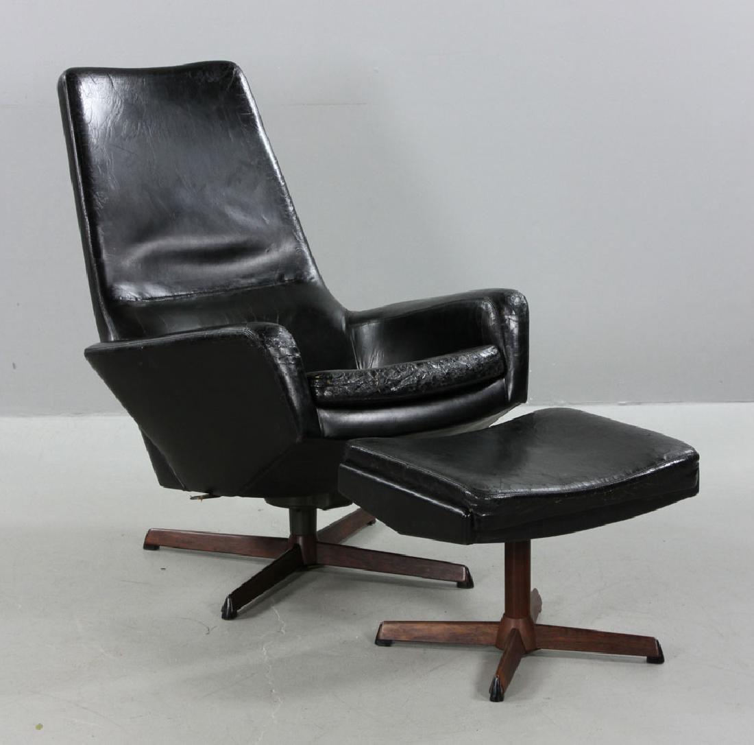 Ib Kofod Larsen Leather Lounge Chair and Ottoman