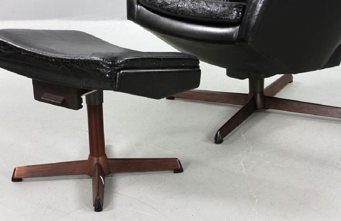 Ib Kofod Larsen Leather Lounge Chair and Ottoman - 3