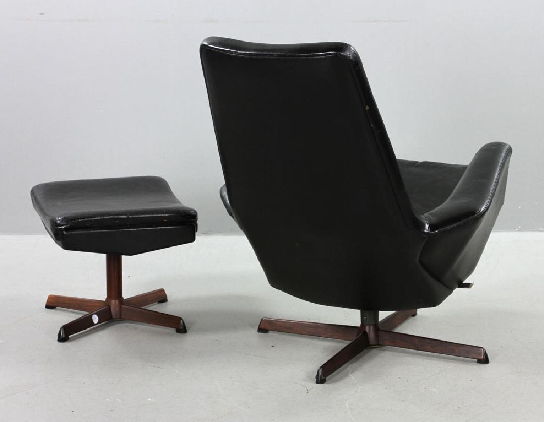Ib Kofod Larsen Leather Lounge Chair and Ottoman - 4