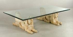 Egyptian Carved Wood Sphinx Table