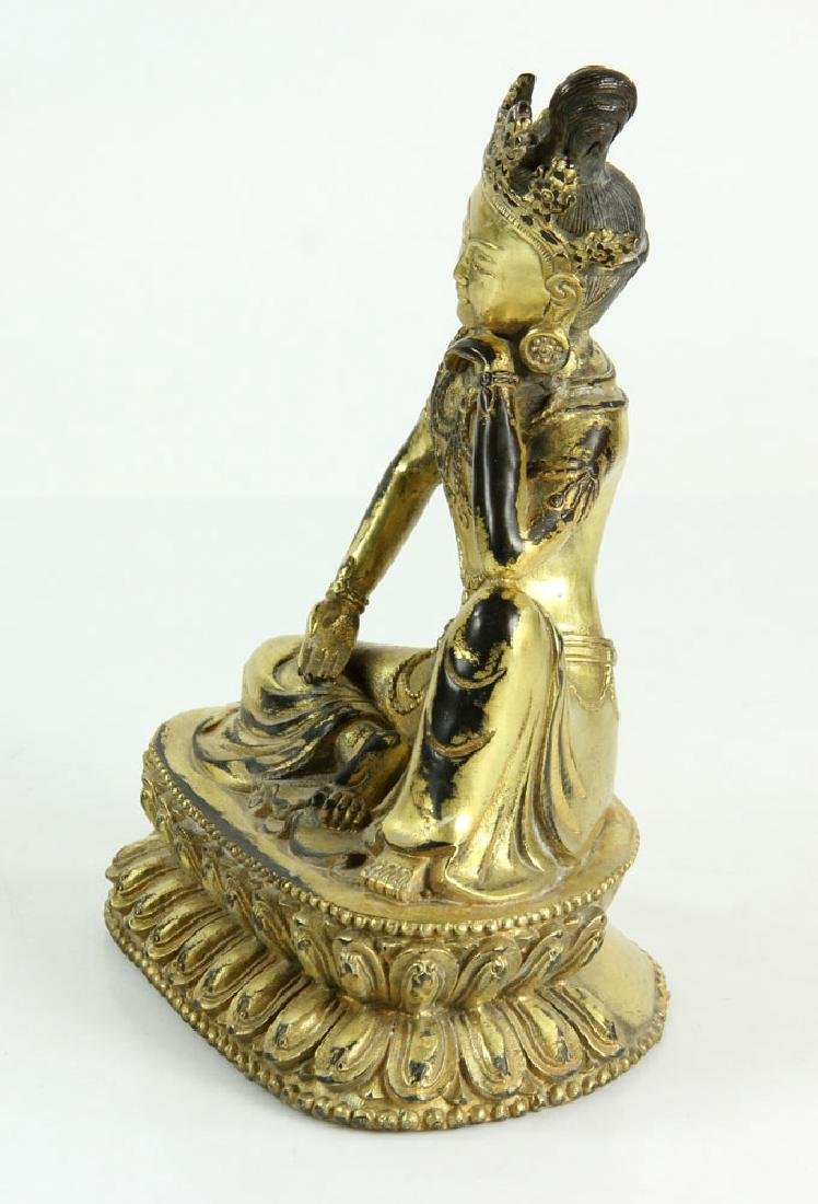 Gilt Bronze Chinese Guardian Figure - 2