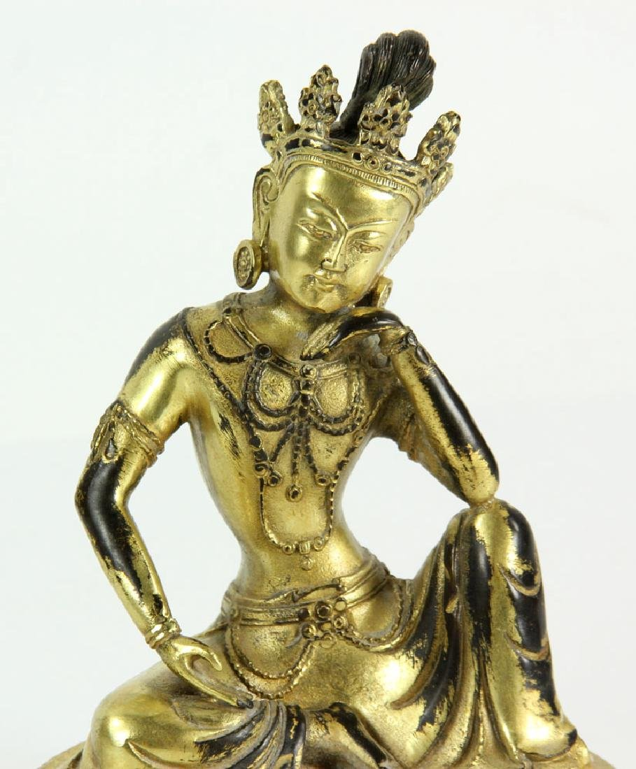 Gilt Bronze Chinese Guardian Figure - 4