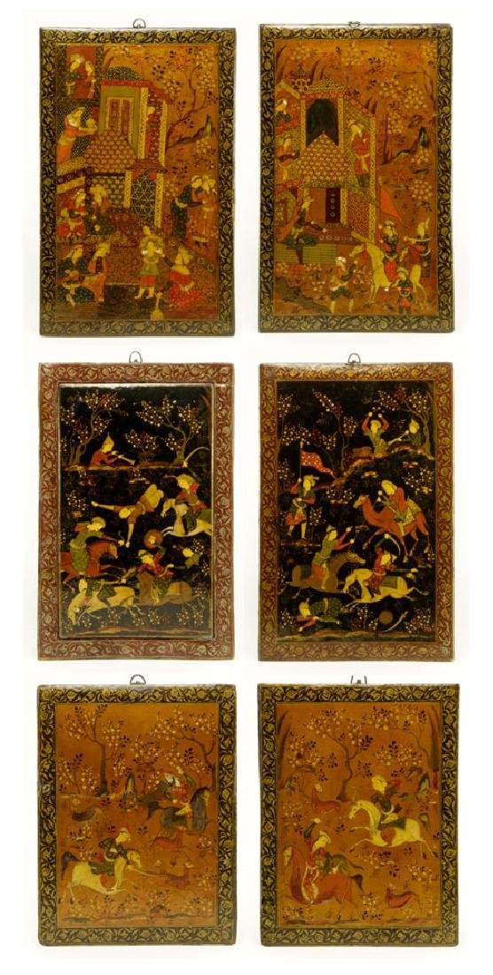 Lot of 6 Indian Watercolor Wood Plaques