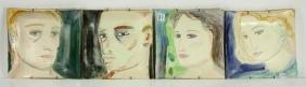 4 Studio Pottery Portrait Plaques