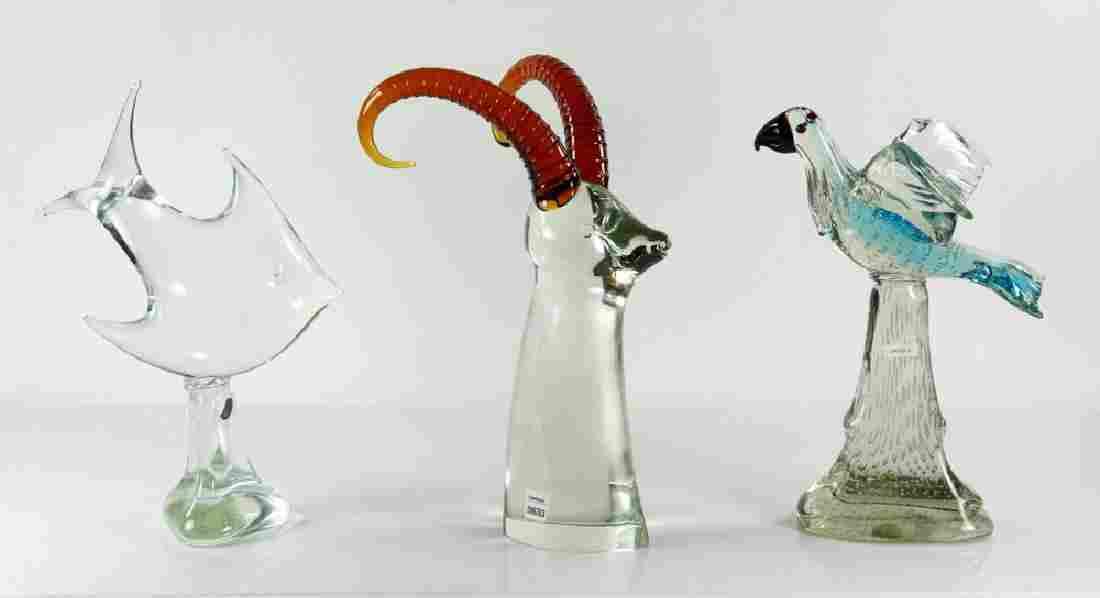 3 Figural Art Glass Sculptures