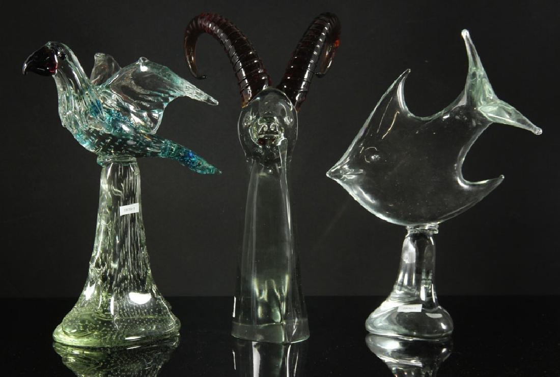 3 Figural Art Glass Sculptures - 7
