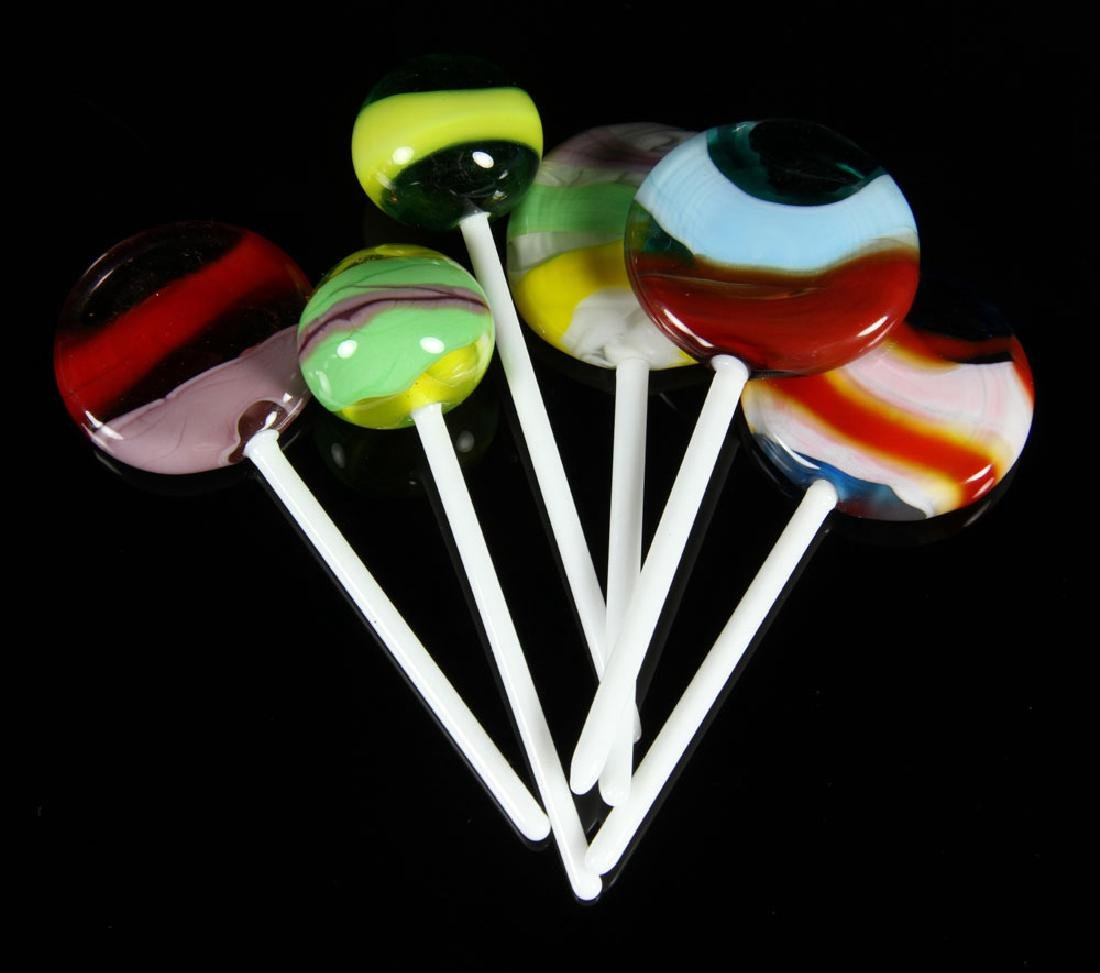 Crystal Candy Dish with Glass Lollipops - 6
