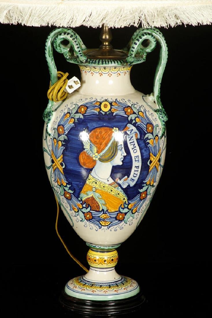 Pr. Antique Italian Pottery Lamps - 3