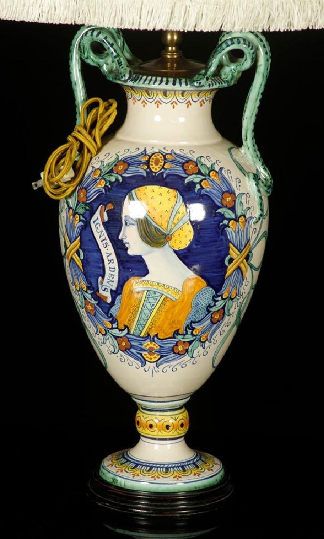 Pr. Antique Italian Pottery Lamps - 4