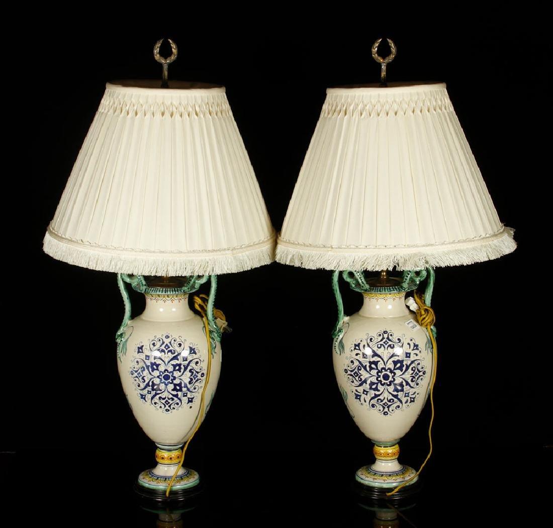 Pr. Antique Italian Pottery Lamps - 5