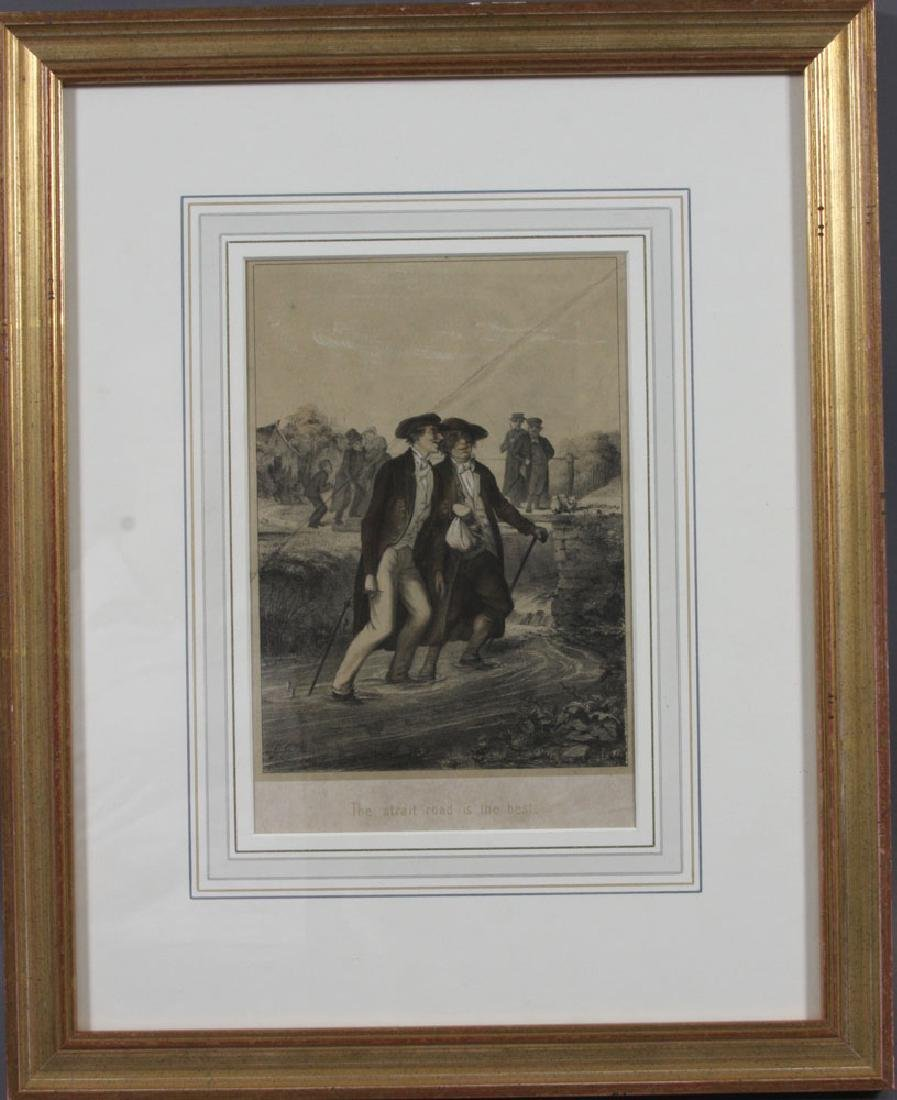 """""""The Strait Road is the Best,"""" 19th C. Lithograph"""