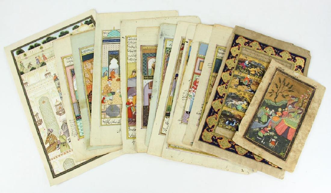 13 Antique Hand Painted Persian Manuscript Pages