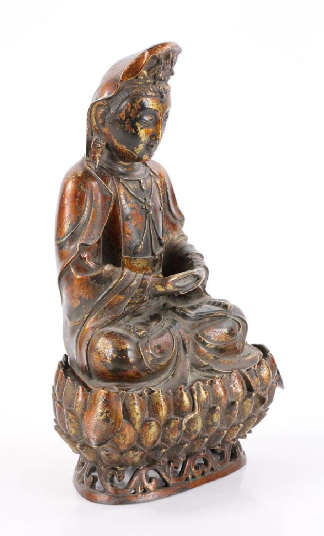 Chinese Antique Bronze Guanyin - 2