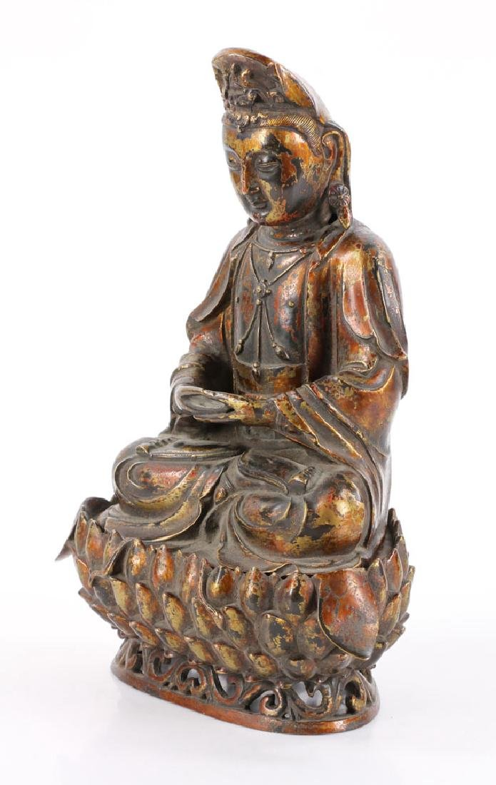 Chinese Antique Bronze Guanyin - 3