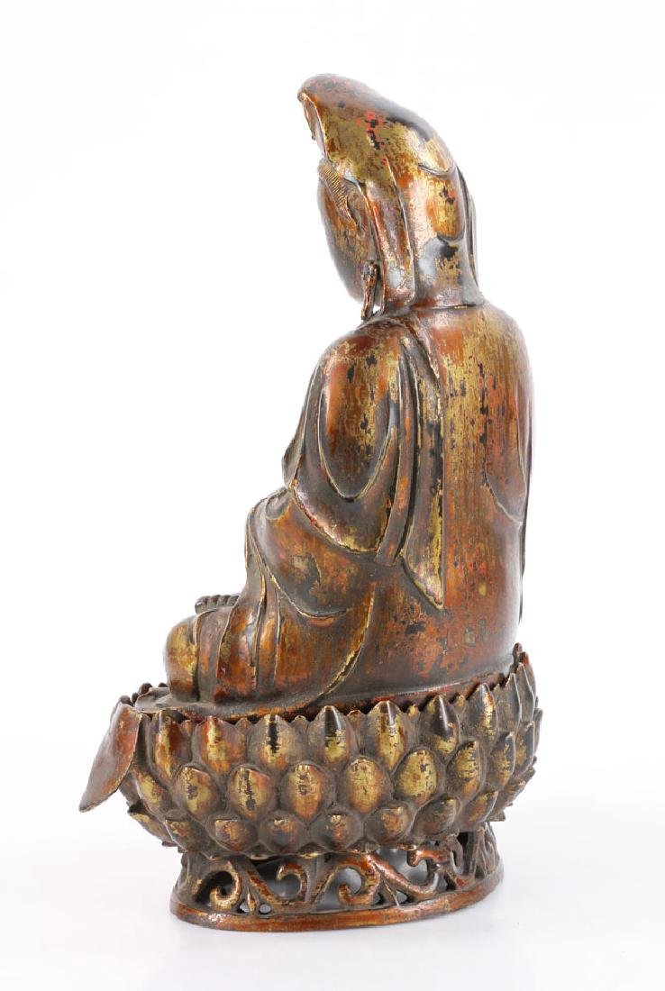 Chinese Antique Bronze Guanyin - 4