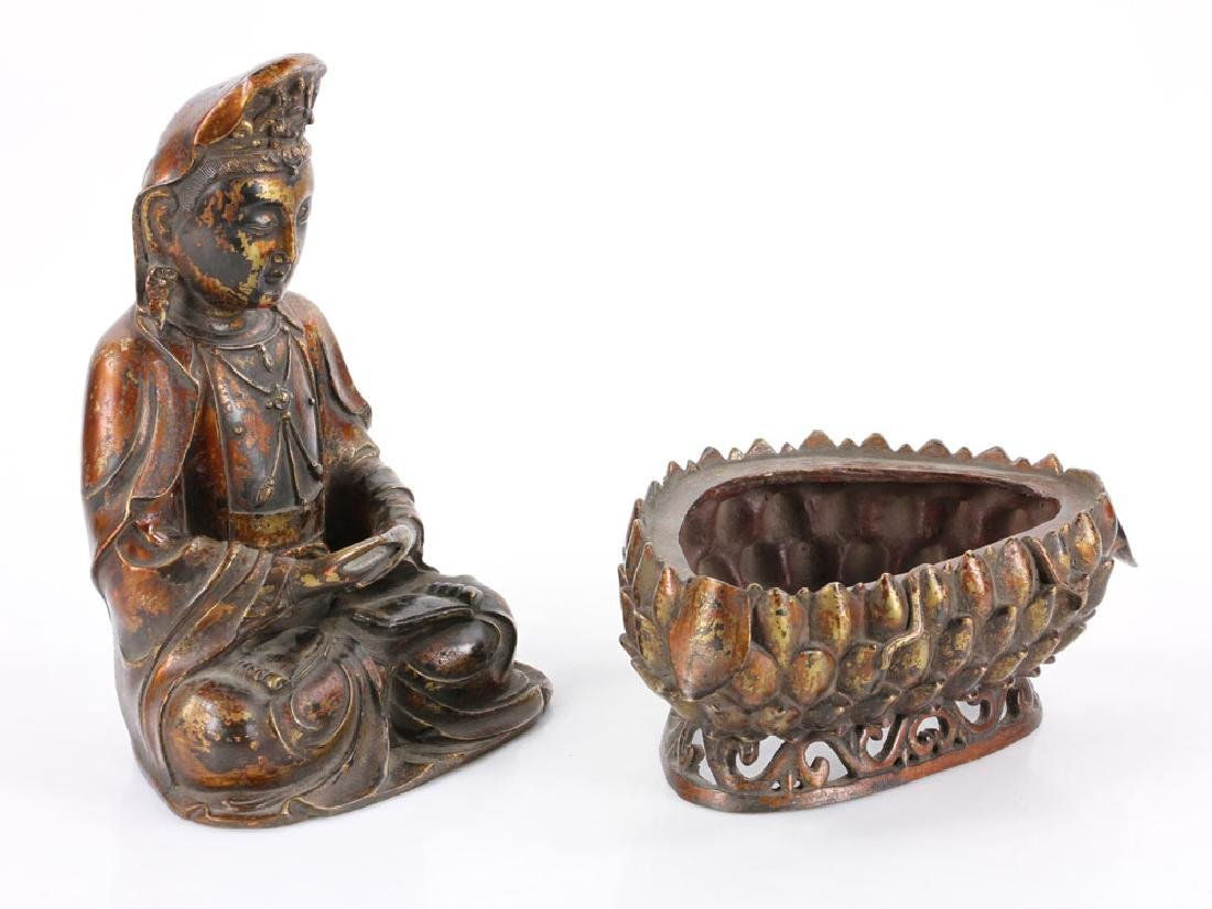 Chinese Antique Bronze Guanyin - 7