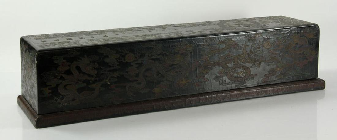 Large Chinese Gilt and Black lacquered Scroll Box