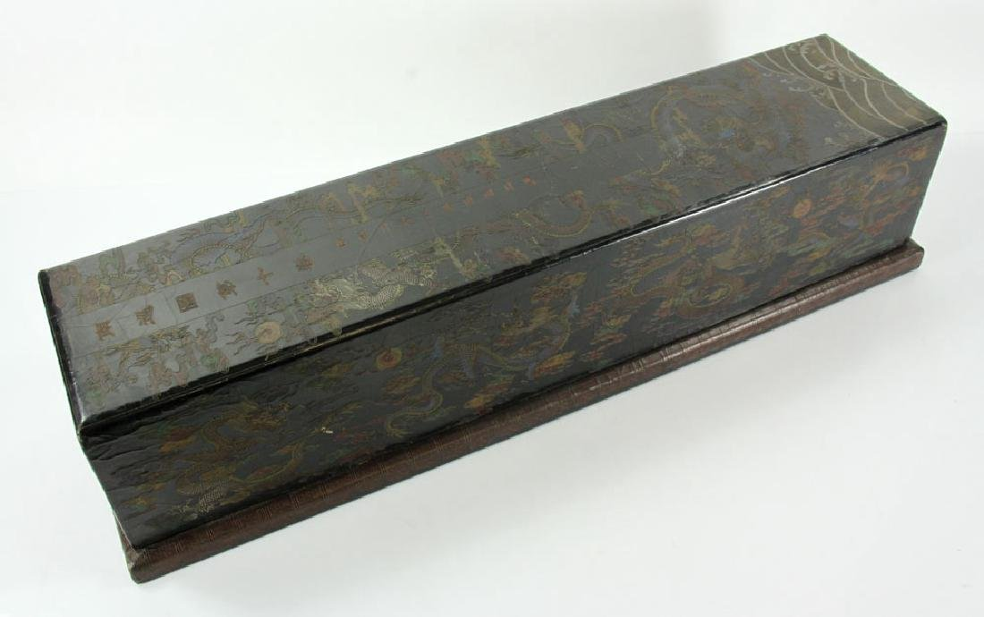 Large Chinese Gilt and Black lacquered Scroll Box - 2